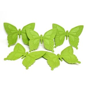 Five Vintage Green Butterfly Syroco Wall Plaques